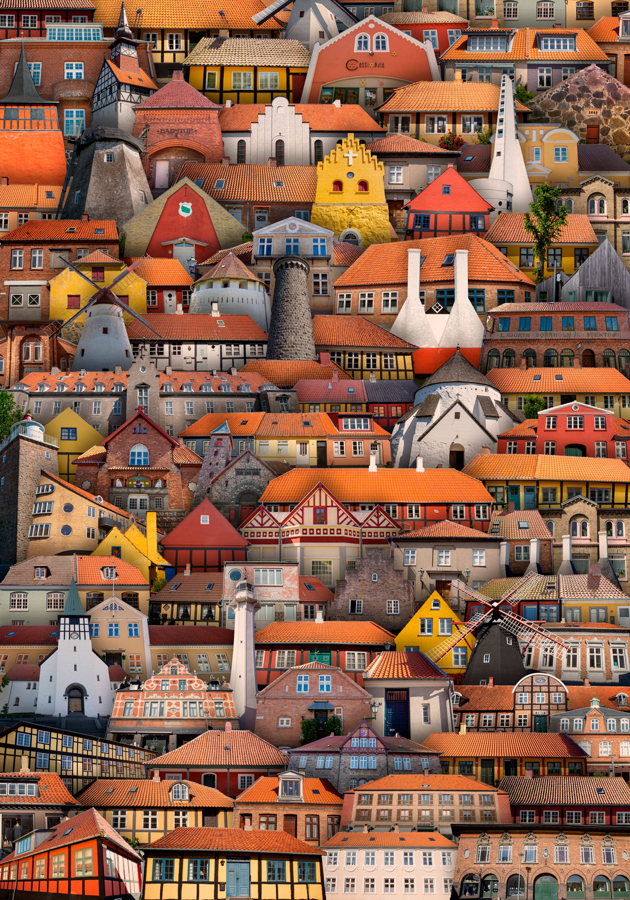 Bornholm, bygninger, plakat, turist, fotograf, københavn