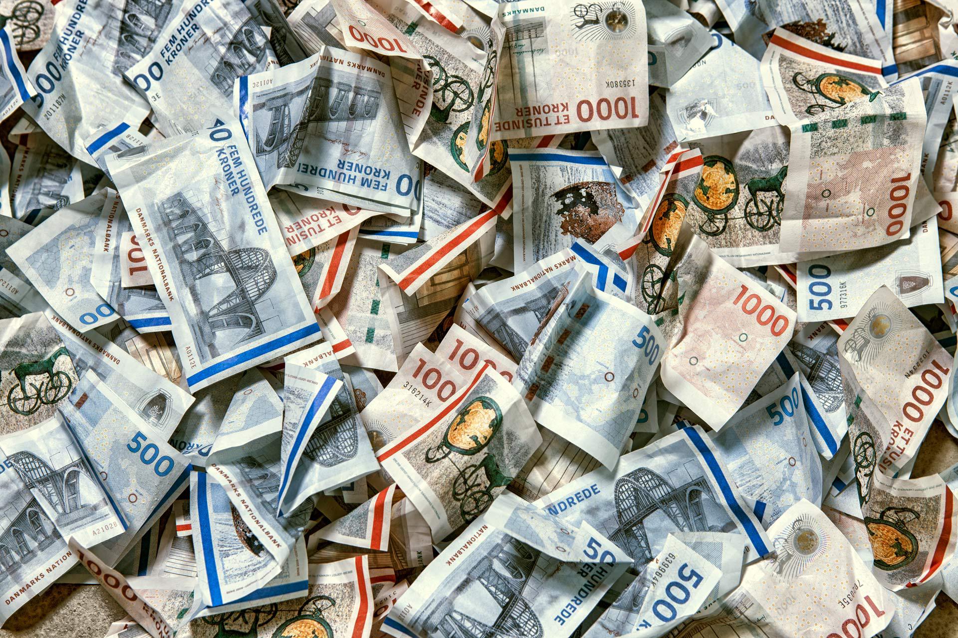 Danske pengesedler, bunke, lån
